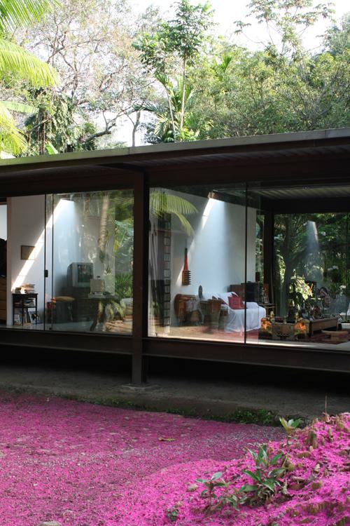 Una casa di vetro nel mezzo della foresta pluviale for Aggiungendo un portico coperto ad un doppio largo