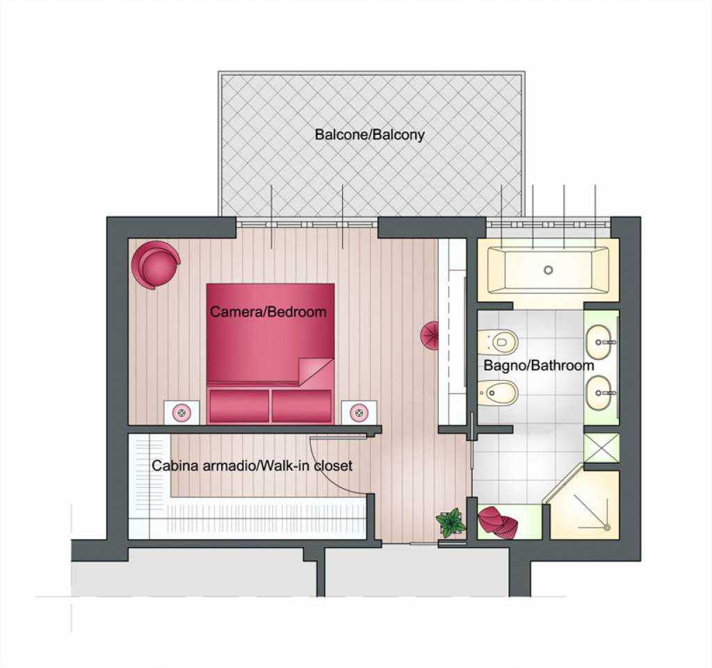 Quadri tris tulipano - Camera da letto con cabina armadio e bagno ...