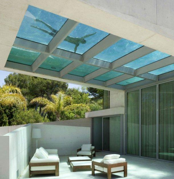 Nuotare a pelo d 39 acqua sul tetto della propria casa in una for Tetto della casa moderna