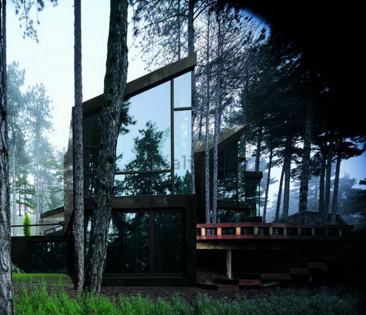 Dettaglio della casa di lusso immersa nella natura