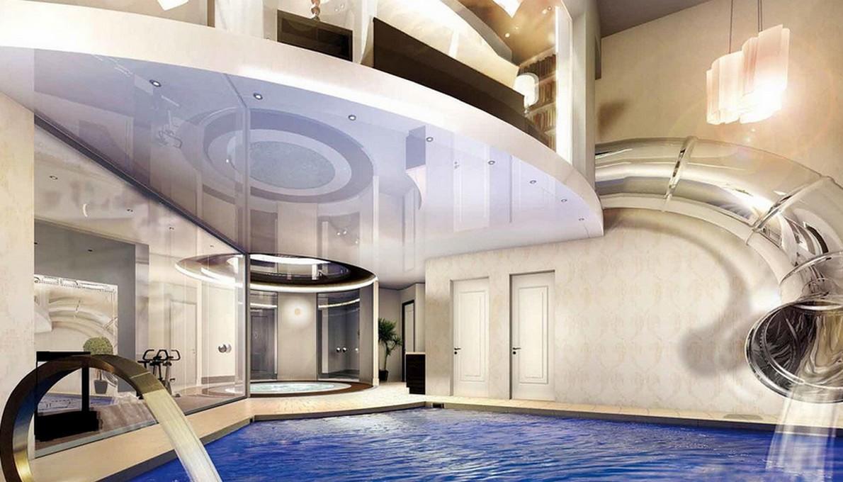 la spettacolare piscina della casa ecologica