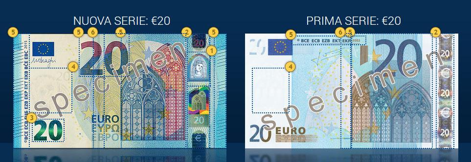 Il nuovo biglietto da 20 euro a confronto con il vecchio