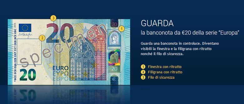 Caratteristiche della nuova banconota da 20 euro