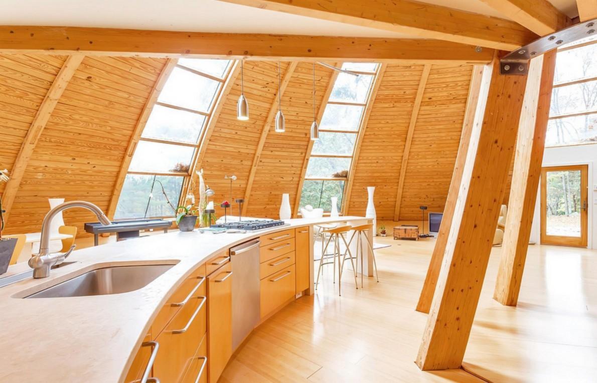 Dettaglio della casa prefabbricata in legno