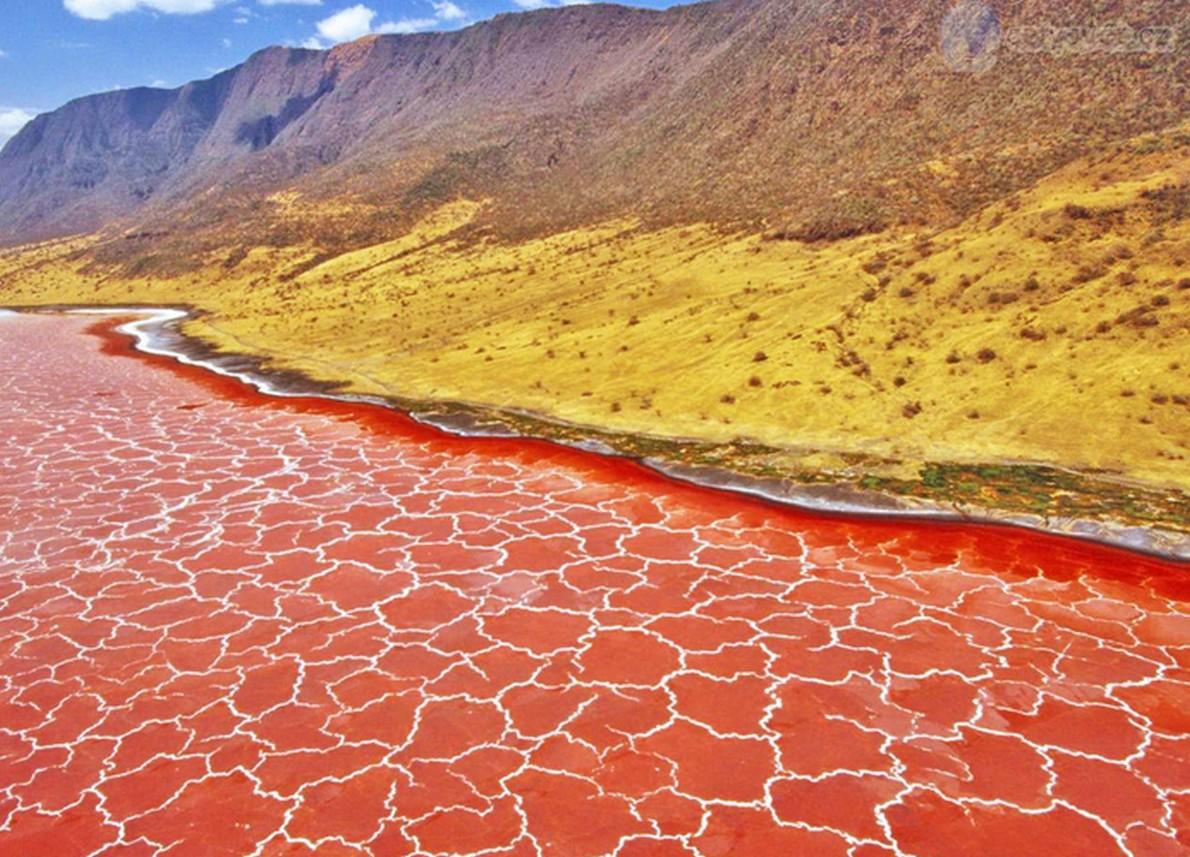 Lago di color rosso in Tanzania