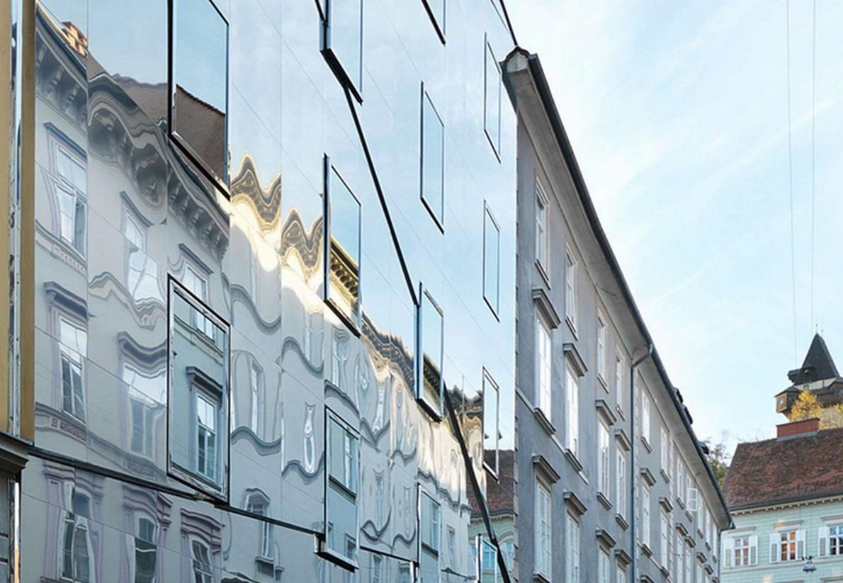 """L'""""edificio"""" camaleonte si trova nella città austriaca di Graz"""