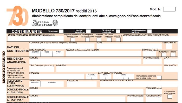 730 2017 online il modello definitivo con le istruzioni for Scadenza modello 730 anno 2017