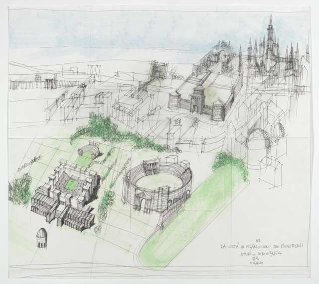 La città di Milano con i suoi monumenti. Studio topografico, 1987 / © Eredi Aldo Rossi - courtesy Fondazione Aldo Rossi