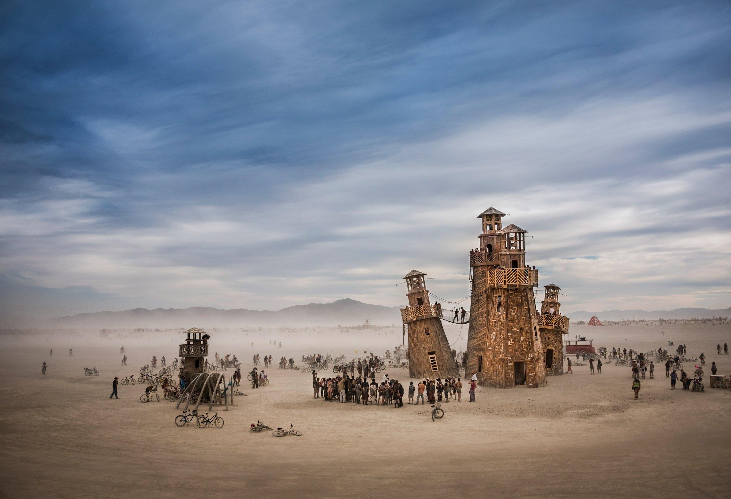 Black Rock Lighthouse Service at Burning Man, Nevada, USA