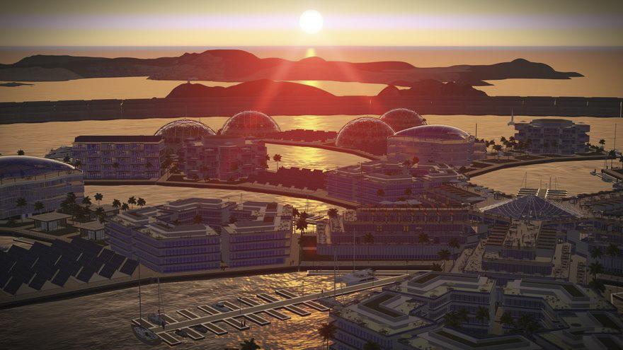 Tramonto in un utopico Stato-isola