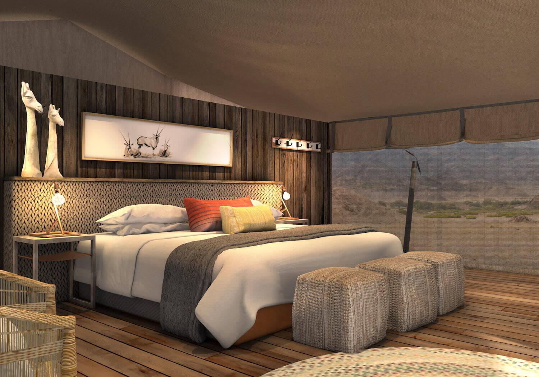 Si tratta di un glamping, ovvero un campeggio di lusso / Hoanib Valley Camp