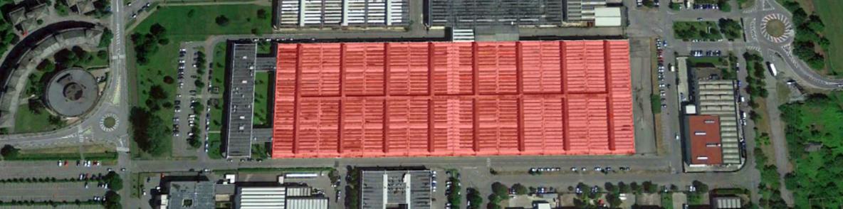 Vista dall'alto del grande edificio di mq 30.000  / Google Maps