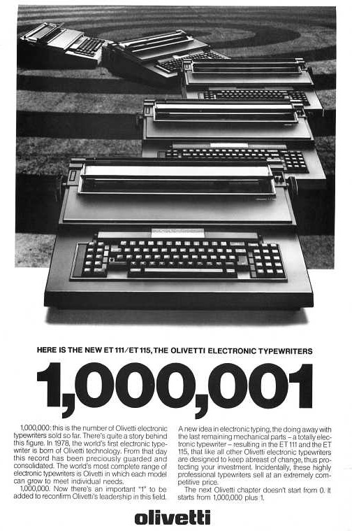 Pubblicità della ET101 la prima macchina da scrivere elettronica al mondo  / Ermentini Architetti