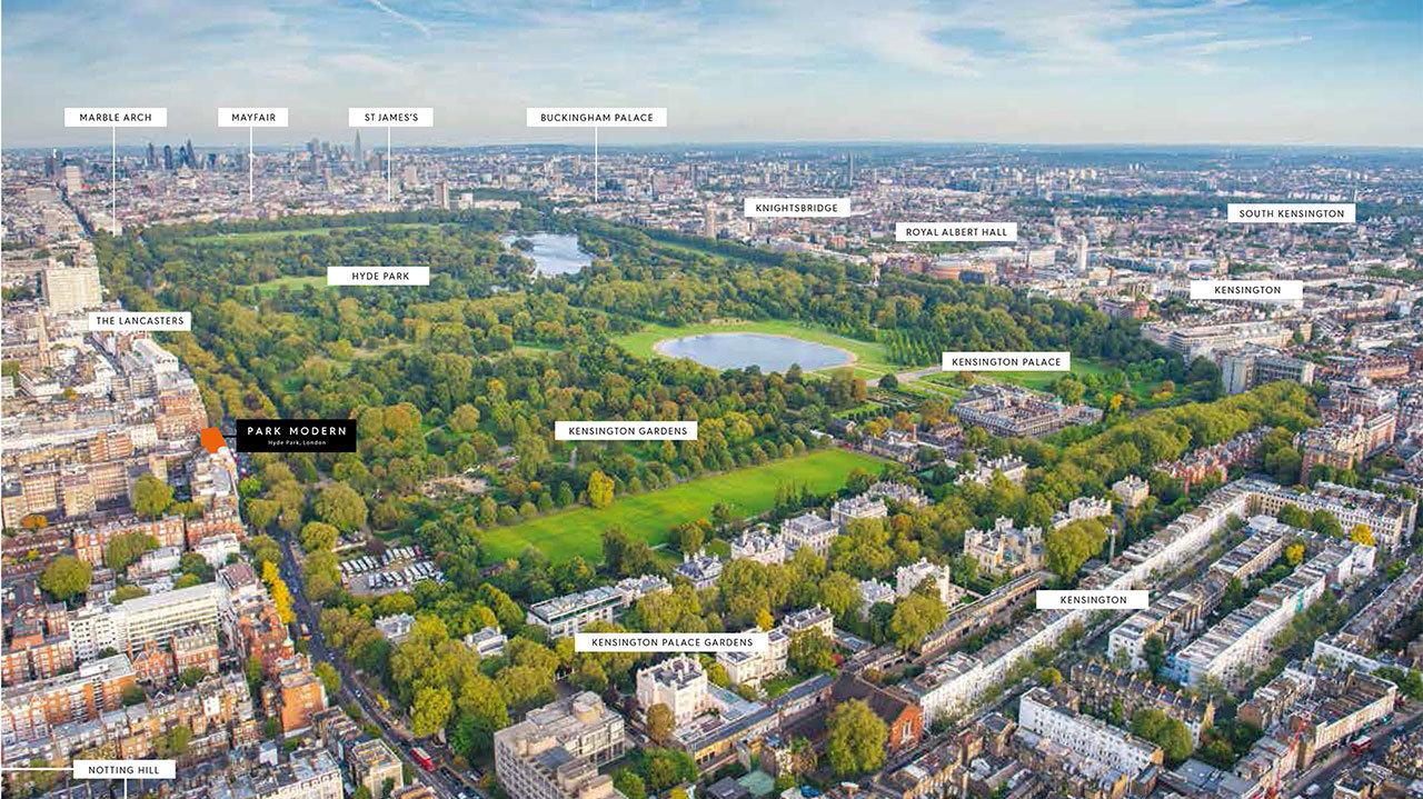 Il complesso è vicino a Hyde Park, uno dei grandi polmoni verdi di Londra