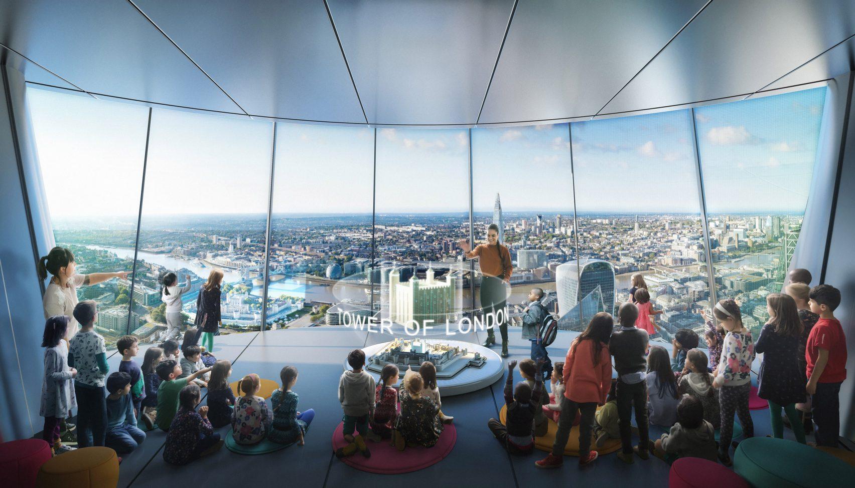 Sarà alto 305 metri e ospiterà bar e ristoranti / DBOX for Foster + Partners