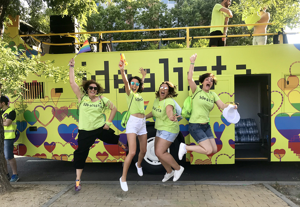 Il carro di idealista al Gay Pride di Madrid nel 2018