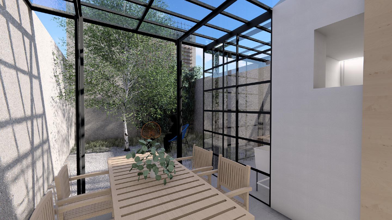 Il patio esterno da realizzare in ferro battuto e vetro / Gopillar