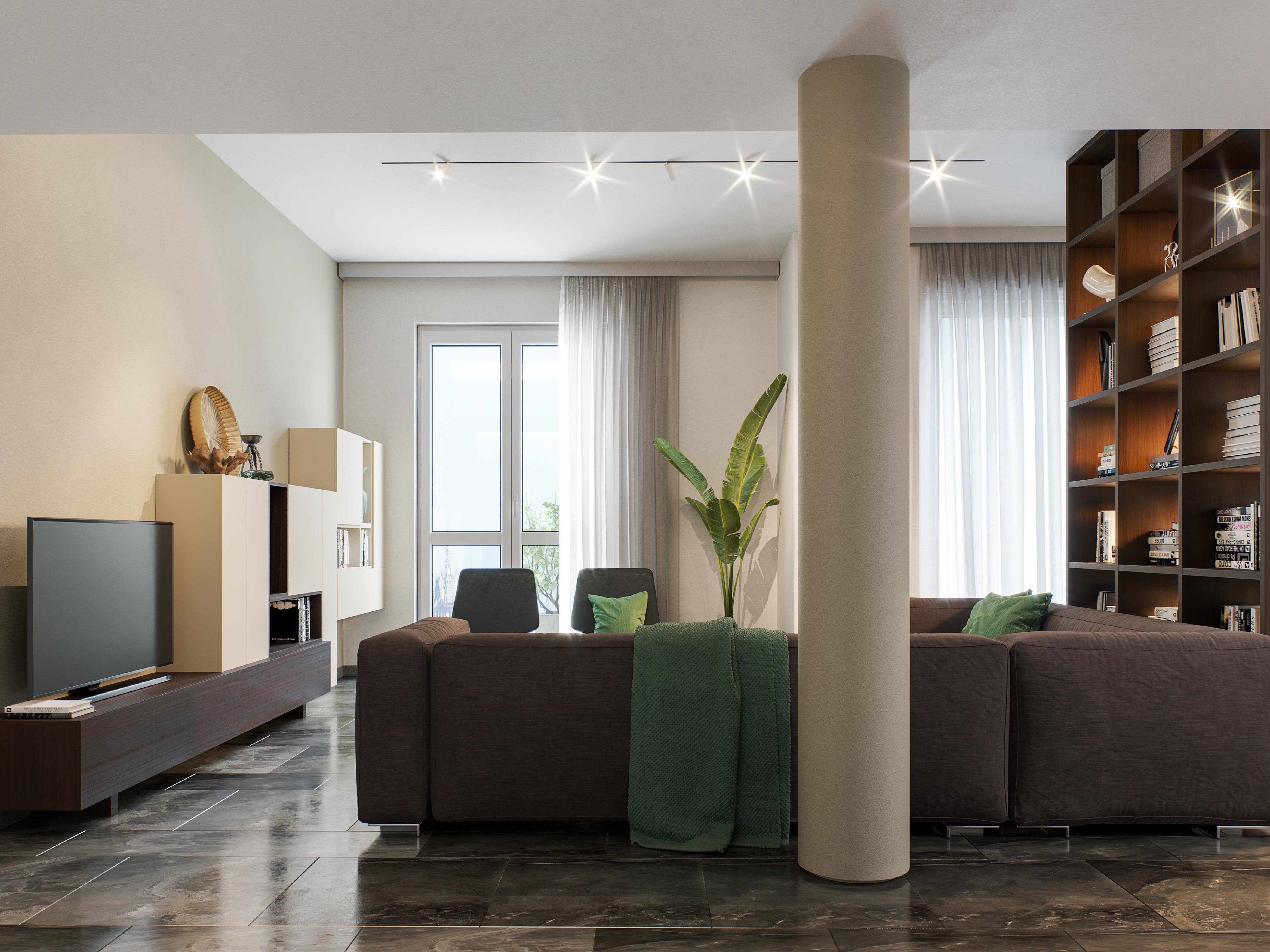 Progetto Sant'Ambrogio, vista del soggiorno / Mcd