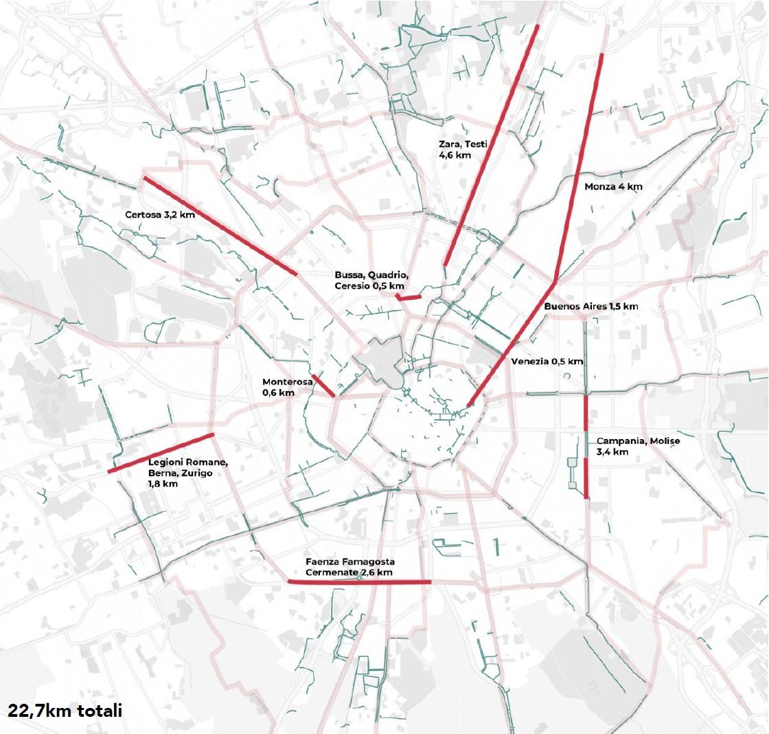 23 km di piste ciclabili / Comune di Milano