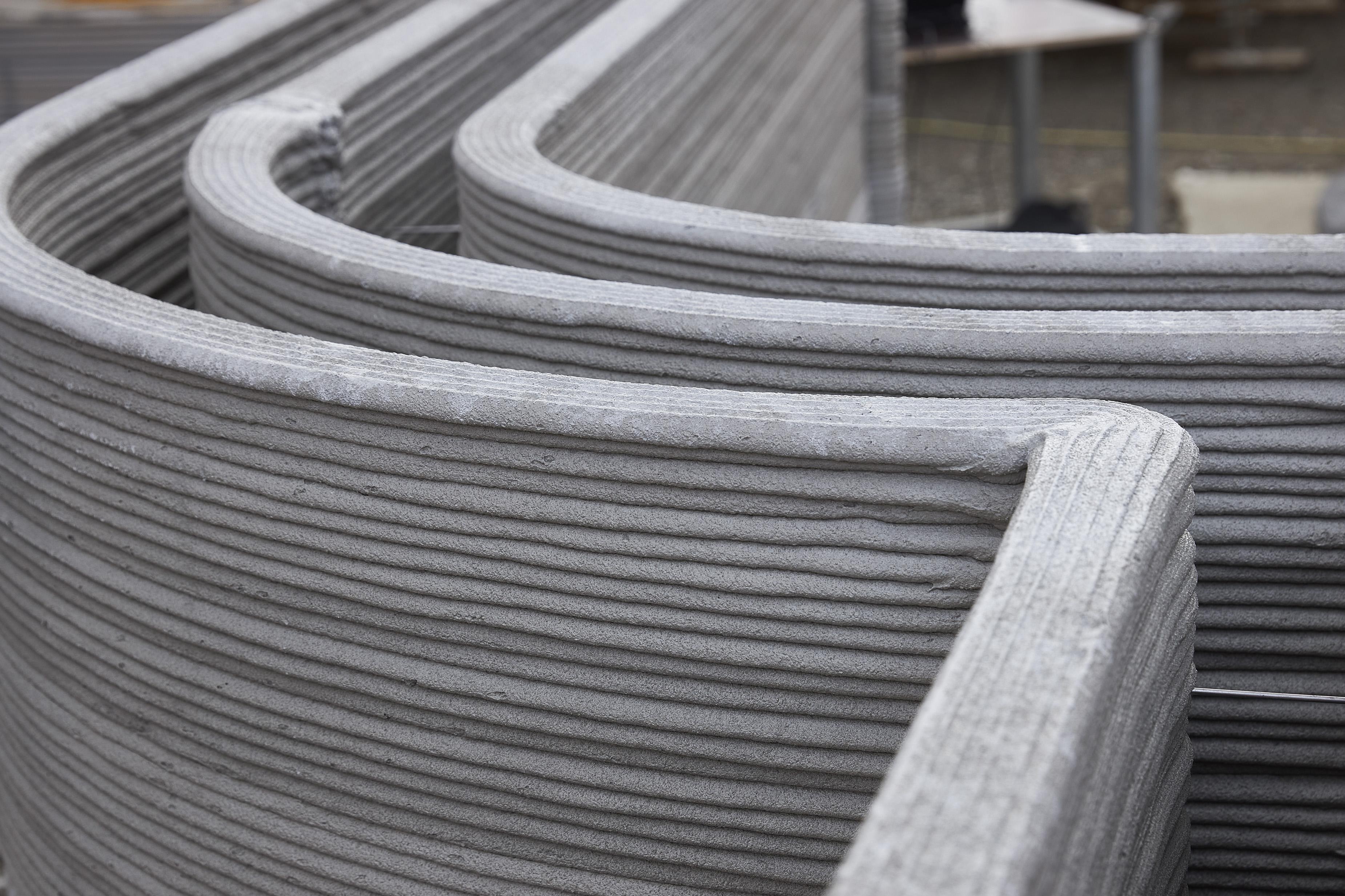 Un dettaglio dei lavori per la realizzazione della casa stampata in 3D a Beckum, in Germania / HeidelbergCement AG/Michael Rasche