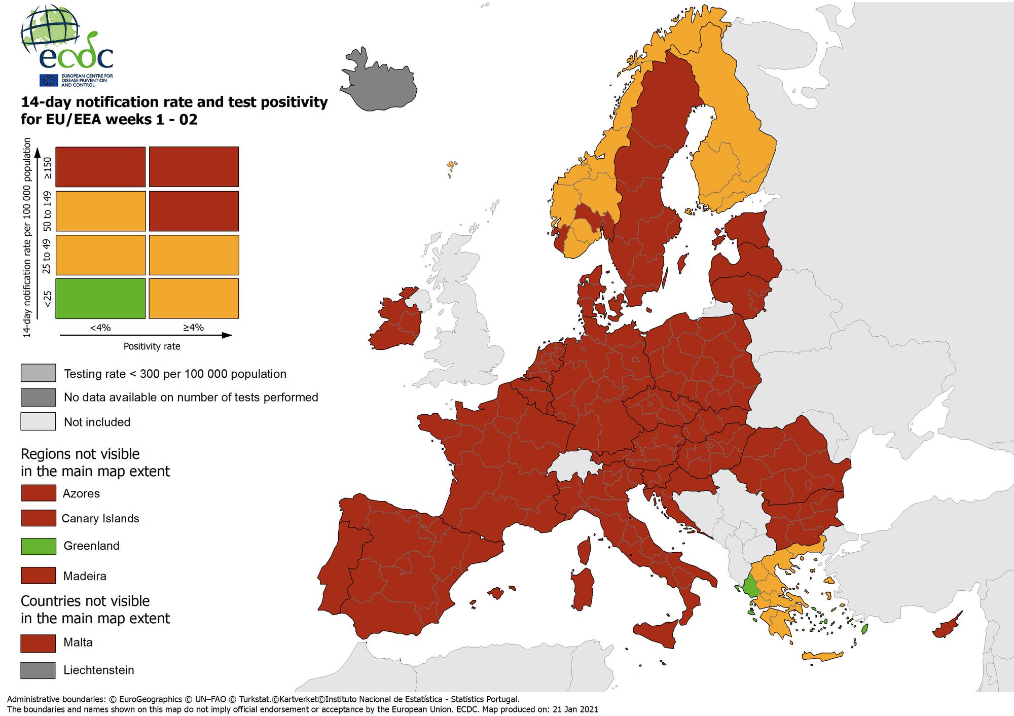 Zone rosso scuro in Europa / Ecdc
