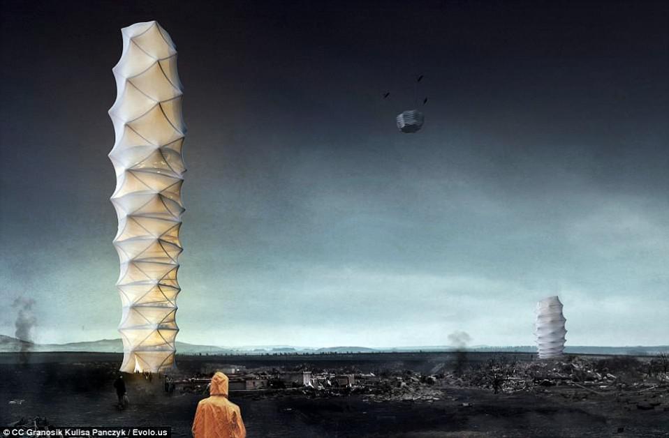 Skyshelter.zip: Foldable Skyscraper for Disaster Zones / eVolo