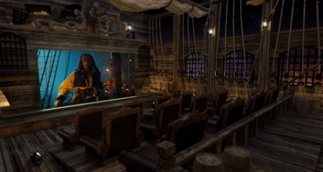 """una sala cinematografica casalinga in puro stile """"pirata dei caraibi"""""""