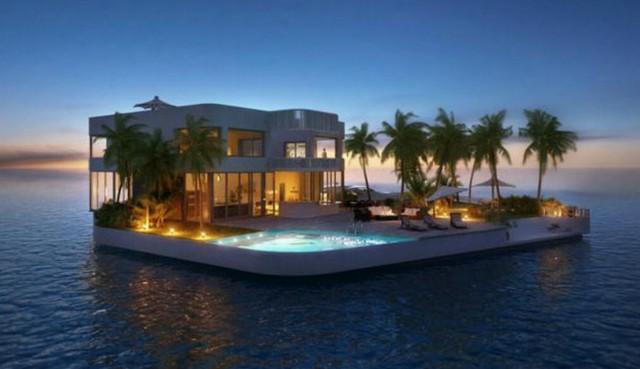 Casa galleggiante su un isolotto
