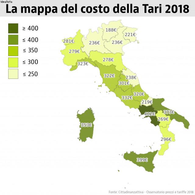 Immagine  - Quanto costa la Tari, la mappa delle tariffe regione