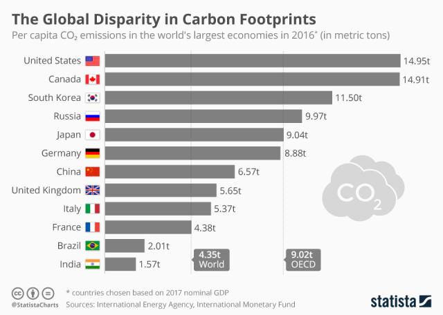 Immagine  - La differenza di emissioni di CO2 nel mondo